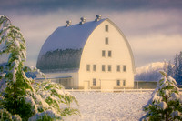 Country Barn Snow Morning
